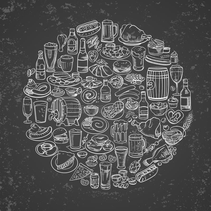 Flüchtiges Bier und Snäcke stock abbildung