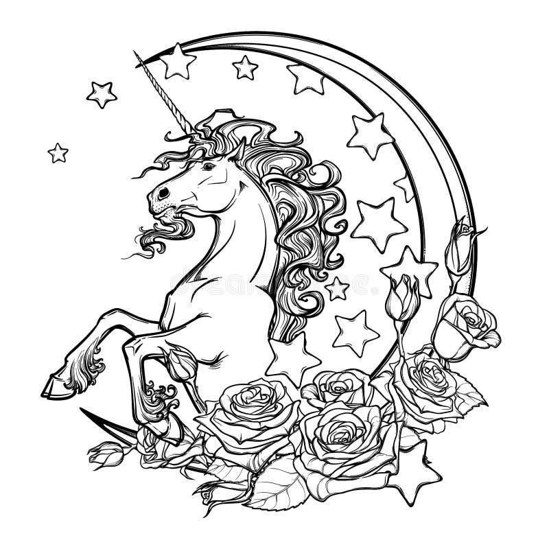 Flüchtiges Einhorn mit Halbmondstern- und -rosengrußkarte vektor abbildung