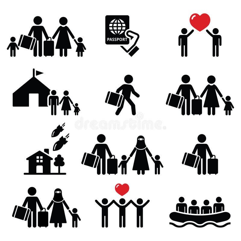 Flüchtling, Immigranten, Familien, die weg von ihren Landikonen eingestellt laufen stock abbildung