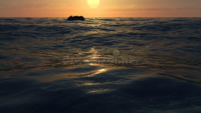Flüchtlinge auf einem großen Gummiboot mitten in dem Meer, die Hilfe fordern stock abbildung
