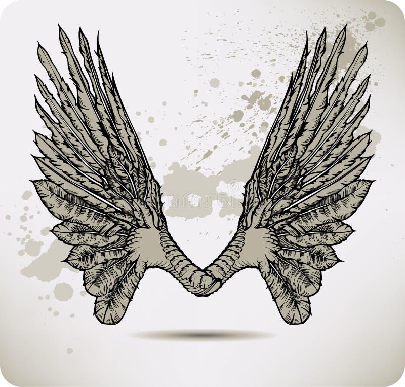 Flügel Einer Krähe. Vektorabbildung. Lizenzfreie Stockbilder