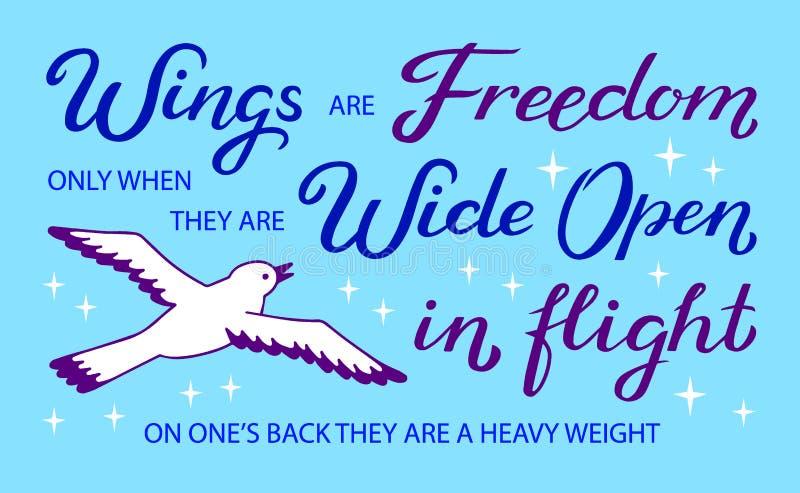 Flügel sind Freiheit nur wenn sie weit im Flug offen sind, auf irgendjemandes Rückseite, die sie - einzigartige Handgezogenes ins stock abbildung