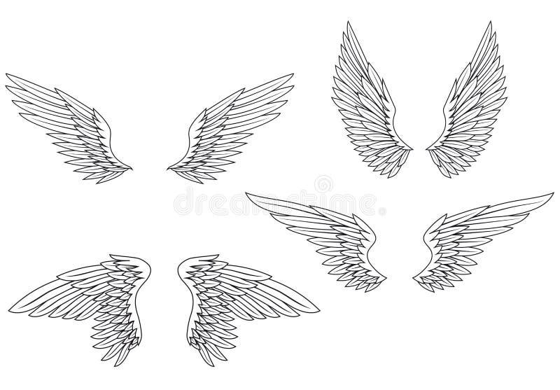 Flügel stellten ein lizenzfreie abbildung