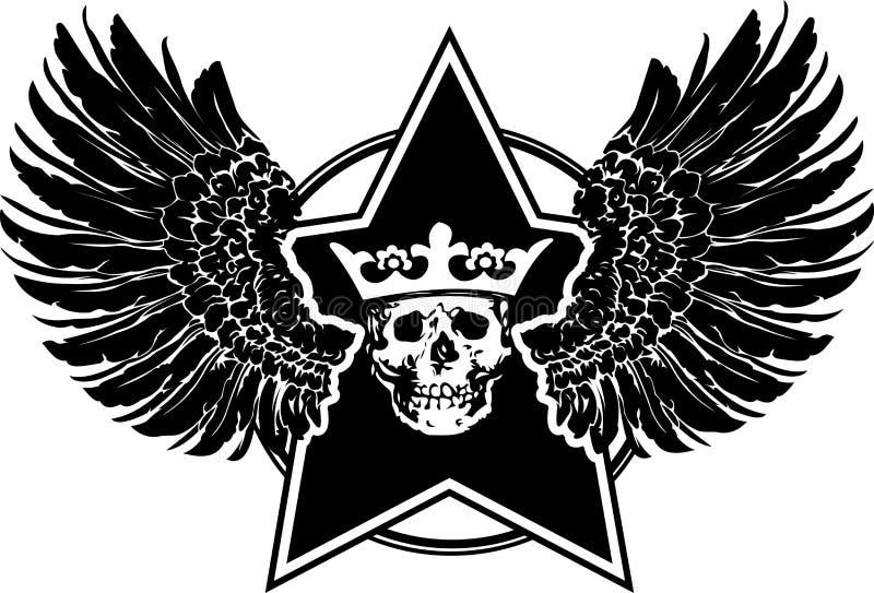 Flügel-, Stern-und Schädel-Zeichen stock abbildung