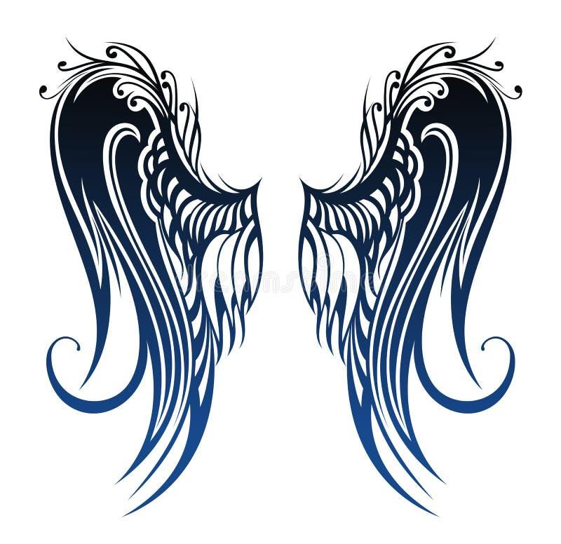 Flügel. Tätowierungsdesign lizenzfreie abbildung