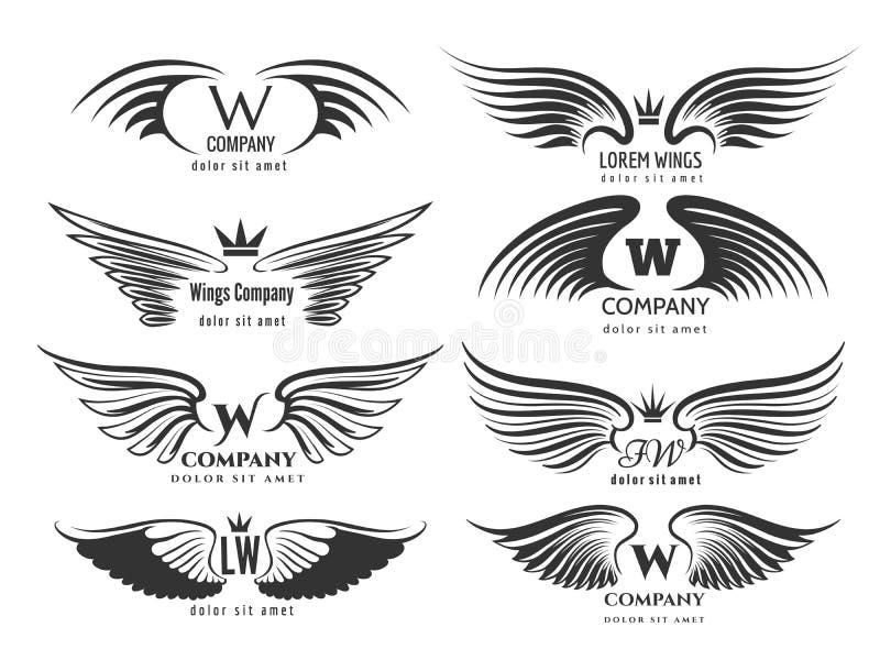Flügelfirmenzeichensatz Vogelflügel oder geflügeltes Logodesign auf weißem Hintergrund lizenzfreie abbildung