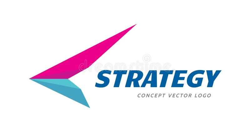 Flügelpfeilgeschäfts-Logoentwurf Strategiezeichen Lieferungssymbol stock abbildung