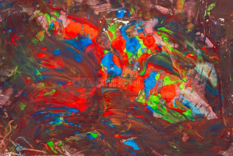 Flüssige abstrakte flüssige Kunstillustration Acrylfarbe auf Segeltuch stockfotos