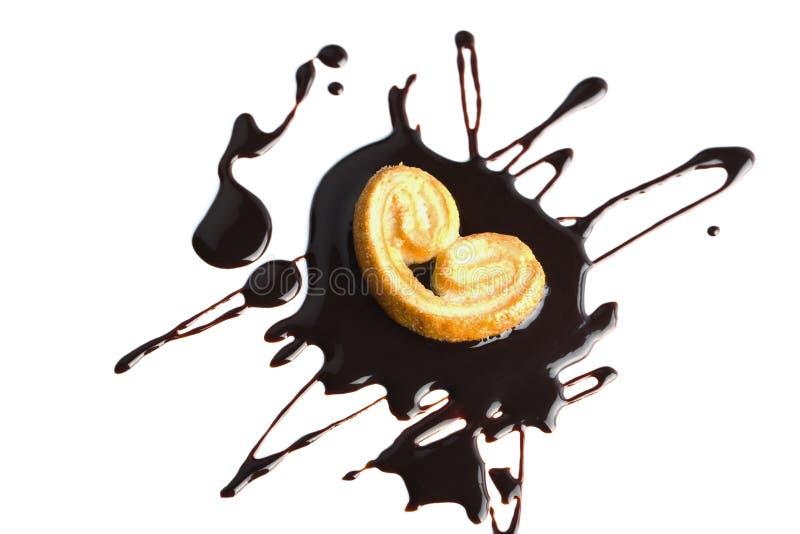 Flüssige dunkle Schokolade und Plätzchen getrennt lizenzfreie stockbilder