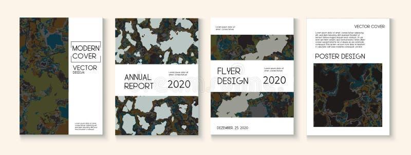 Flüssige Farbe, Clay Texture Vector Cover Layout Modische Zeitschrift, Musik-Plakat-Schablone Modernes Tag der Erde-Ökologie-Plak lizenzfreie abbildung