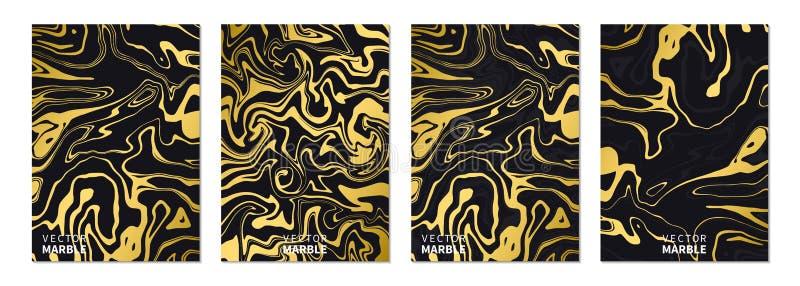 Flüssige Marmorbeschaffenheit im Gold Vertikale Fahnen eingestellt mit abstraktem Hintergrund Goldenes dynamisches flüssiges Kuns lizenzfreie abbildung