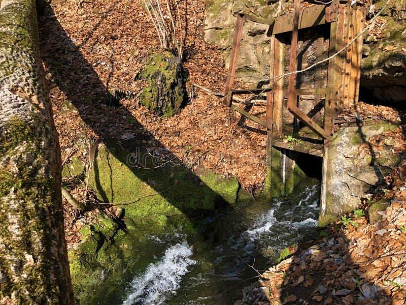 Flüssige Quelle Tschuder mit Wasserfall und Karstfrühling oder Karstquelle Tschuder, Schwende der Wasserversorgung lizenzfreie stockfotos