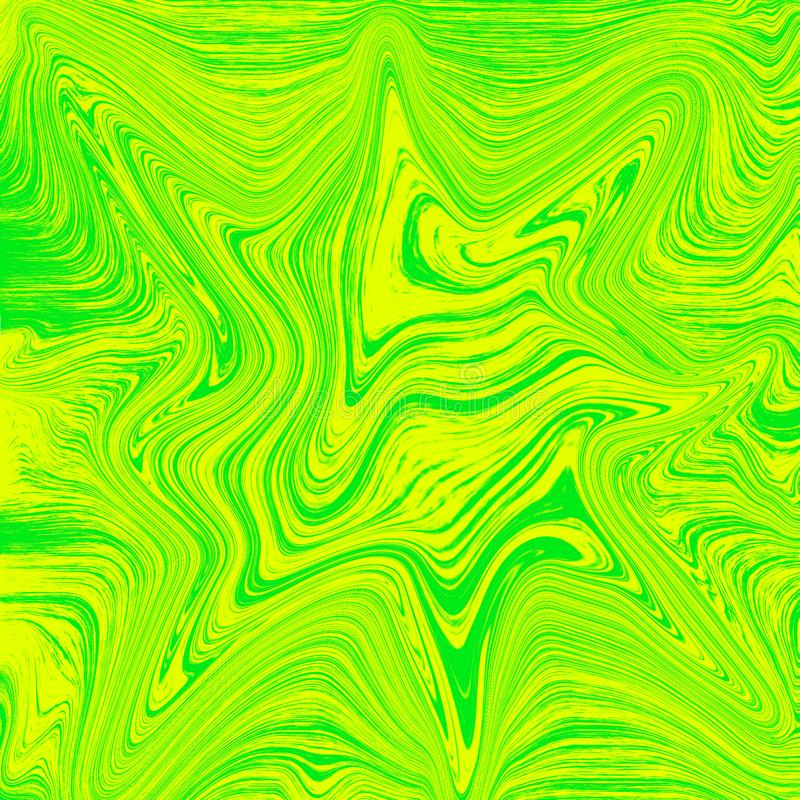 Flüssige Tapetenkombination von Grünem und von Gelbem Flüssige abstrakte digitale Malerei lizenzfreie abbildung