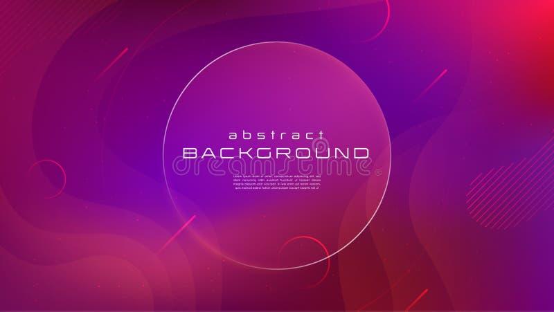 Flüssiger blauer abstrakter Hintergrund der Steigung rote Farb Flüssigkeit formt futuristisches Konzept Geometrische Tapete der k lizenzfreie abbildung