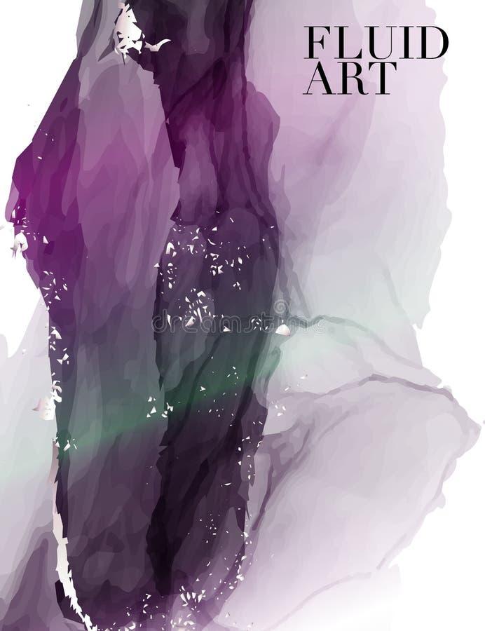 Flüssiger Fluss der Alkoholtinte in violette Farbe Zarte Dekoration Illustration Eps10 Hochzeitsdekorationsentwurf vektor abbildung