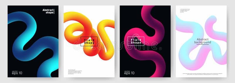 Flüssiger Formhintergrund Abstrakte flüssige Formen für Plakat, Broschürenhintergrund Satz dynamische und moderne Abdeckungen lizenzfreie abbildung