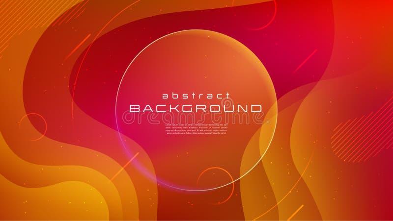 Flüssiger gelber abstrakter Hintergrund der Steigung rote Farb Flüssigkeit formt futuristisches Konzept Kreative Bewegung geometr vektor abbildung