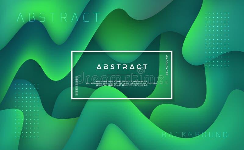 Flüssiger flüssiger gewellter Hintergrund mit einer Kombination von hellgrünem und von dunkelgrünem dynamischer Hintergrund mit m lizenzfreie abbildung