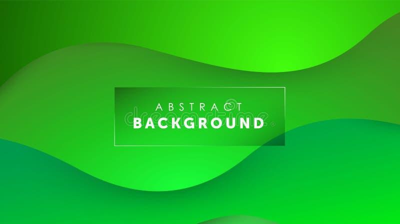 Flüssiger Hintergrund der Steigung grüne Farb Flüssigkeit formt futuristisches Konzept Kreative gewellte Tapete Design f?r Fahnen lizenzfreie abbildung
