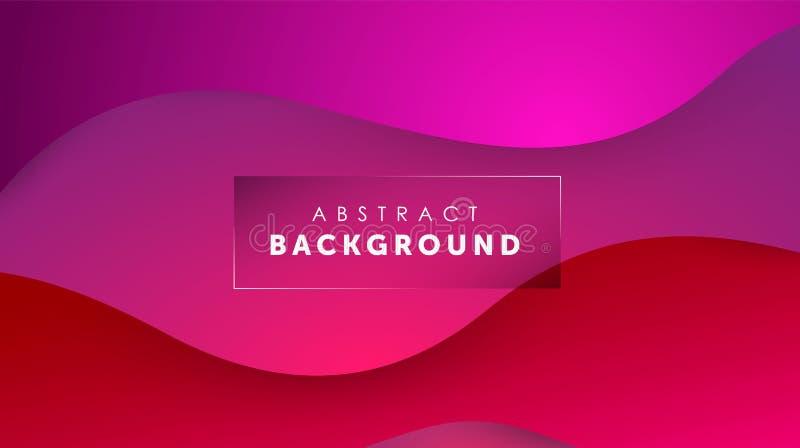 Flüssiger Hintergrund der Steigung rote Farb Flüssigkeit formt futuristisches Konzept Kreative gewellte Tapete Design f?r Fahnen stock abbildung