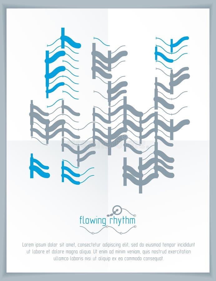 Flüssiger Rhythmus, abstrakte Welle zeichnet Vektorhintergrund für Gebrauch wie lizenzfreie abbildung