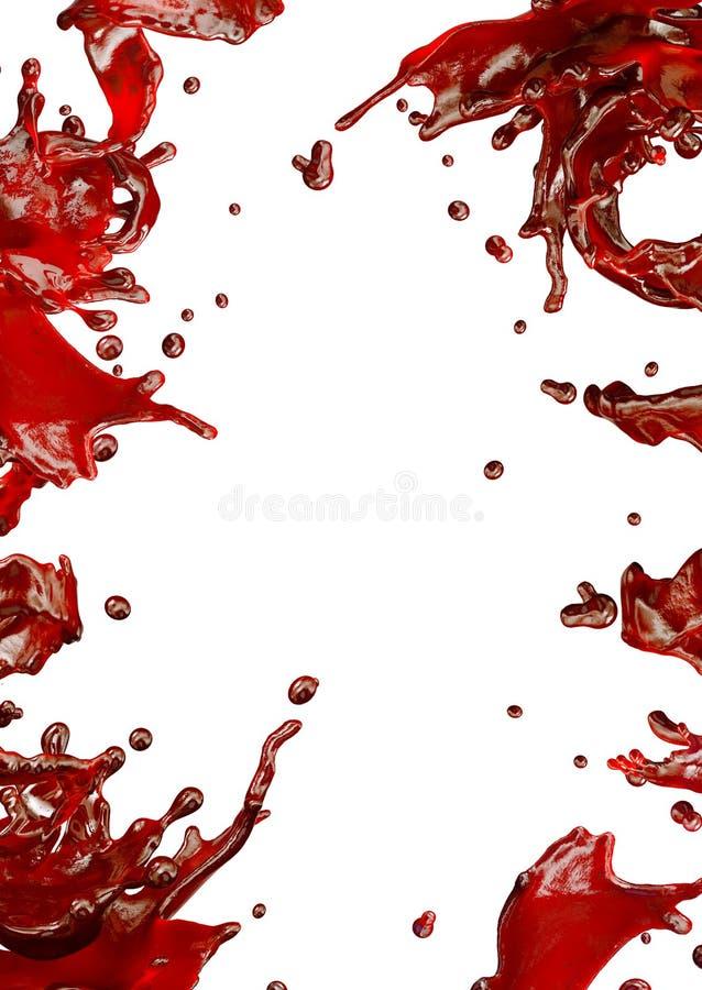 Flüssiger Saft spritzt mit den lokalisierten Tröpfchen Abbildung 3D lizenzfreie abbildung