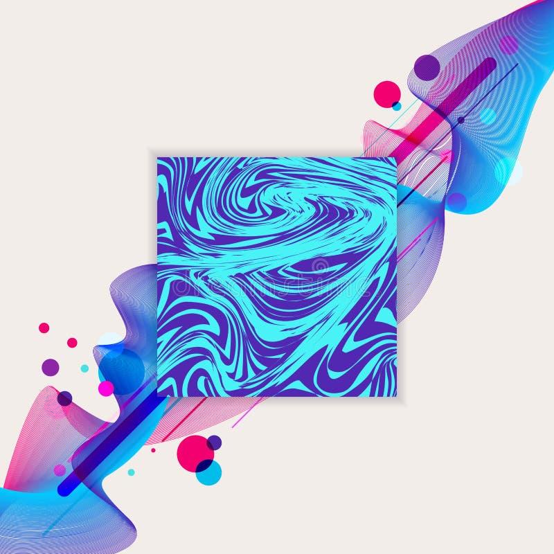 Flüssiges Blau der Zusammenfassungswelle und purpurroter Musterentwurfshintergrund des Farbe- und buntenkreises geometrischer Qua vektor abbildung