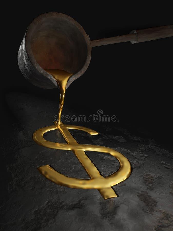 Flüssiges Dollarzeichen lizenzfreie abbildung