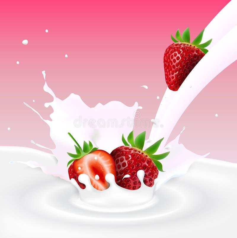 Erdbeere Trägt Früchte, Fallend In Das Milchige Spritzen