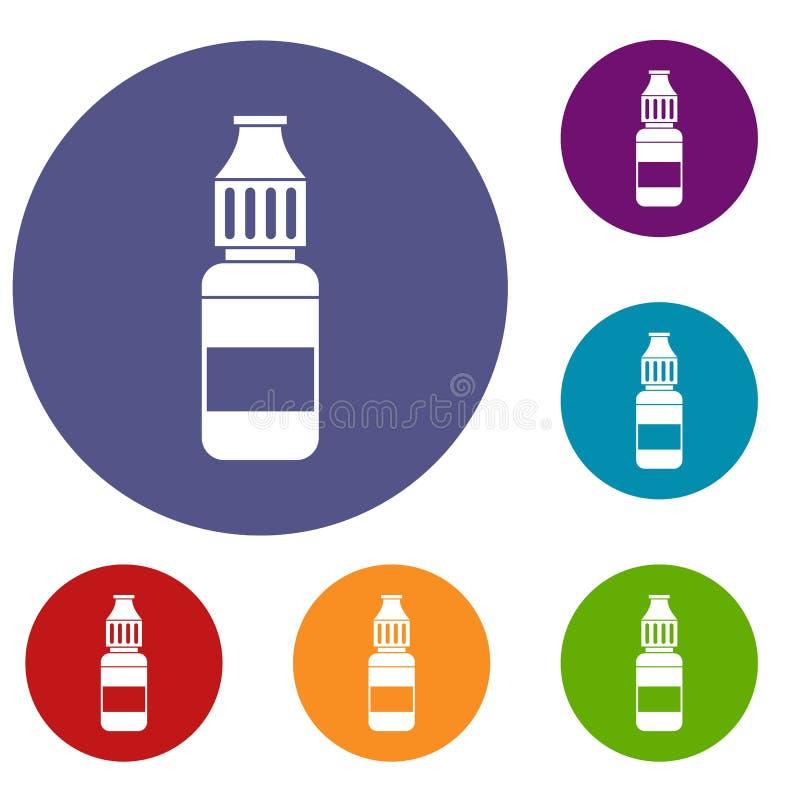 Flüssigkeit für die elektronischen Zigarettenikonen eingestellt vektor abbildung