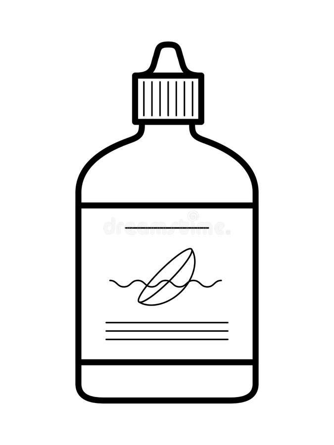 Flüssigkeit für Kontaktlinse, Flaschenikone, Vektorillustration lizenzfreie abbildung