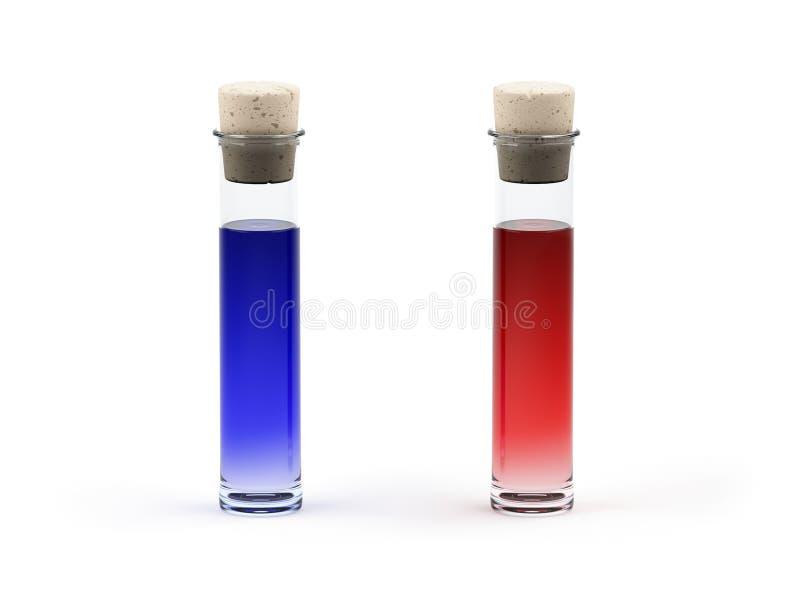 Flüssigkeit zwei in einer Flasche mit Stopper lizenzfreie abbildung