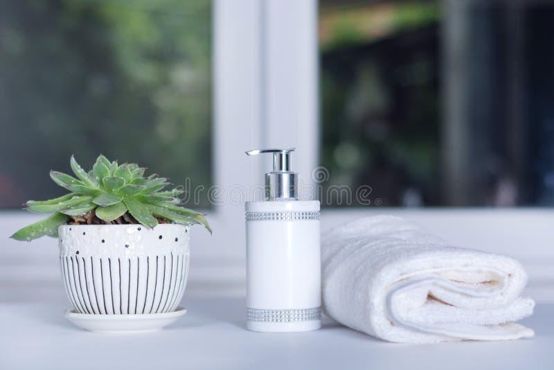 Flüssigseifeflasche, weißes Tuch und Grünpflanze im Badezimmer lizenzfreies stockfoto