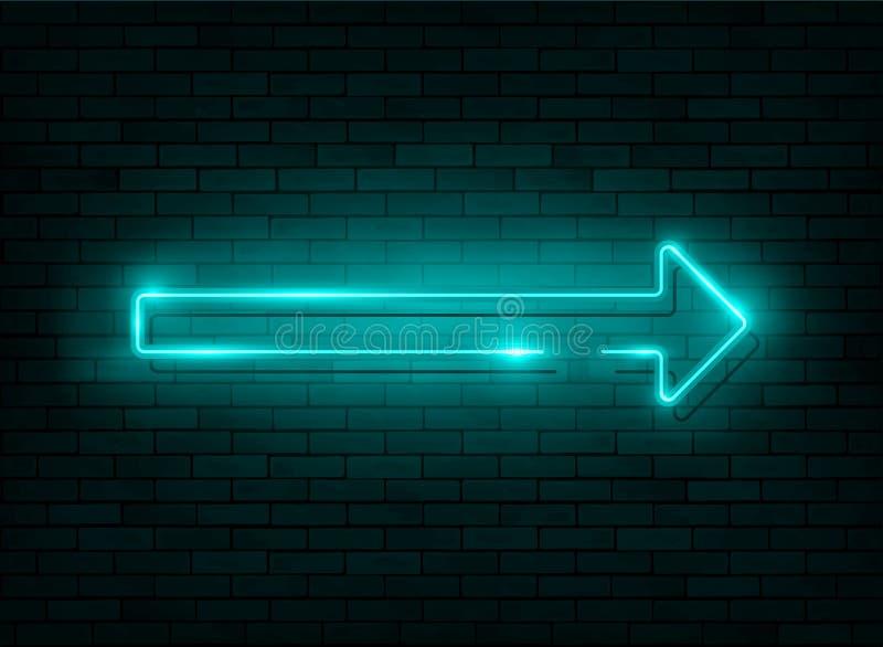 Fl?che au n?on Enseigne au néon bleu avec un fond de mur de briques, icône, bannière avec léger instantané, illustration illustration stock