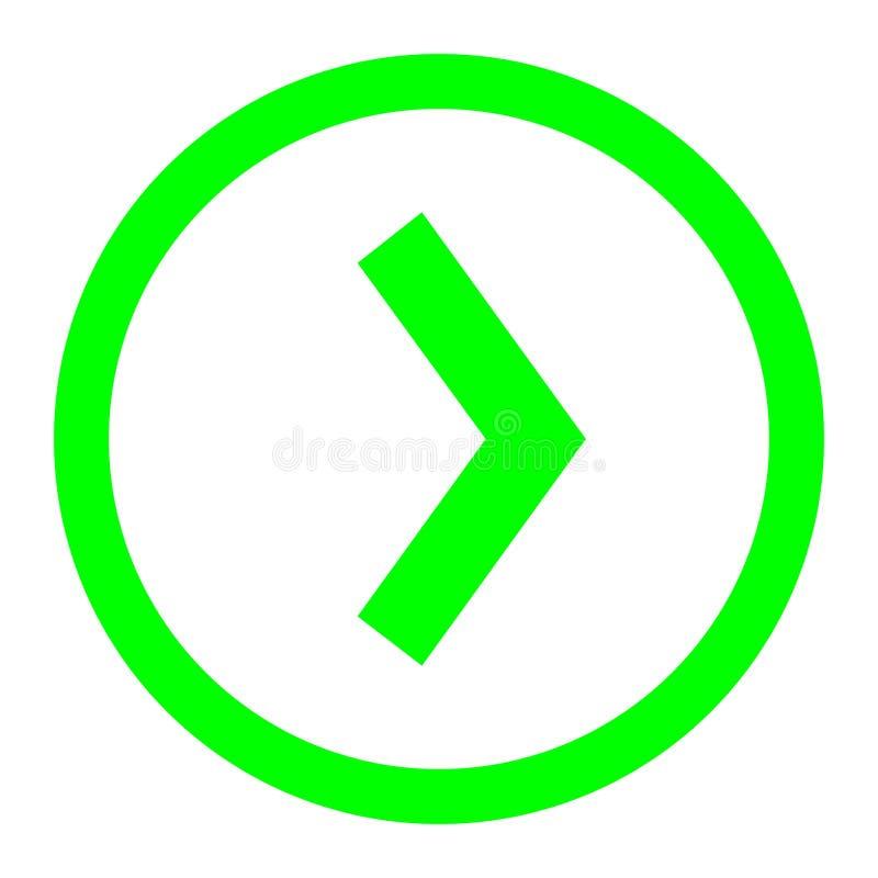 Fl?che droite dans le vecteur de cercle ic?ne lin?aire de vecteur d'illustration Ligne avec le symbole editable de course illustration libre de droits