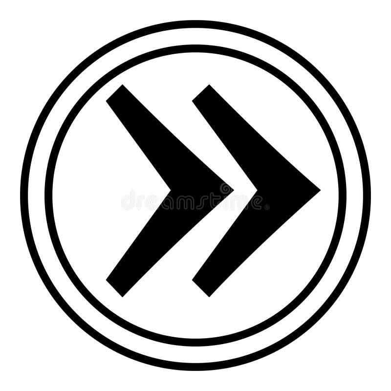 Fl?che droite dans le vecteur de cercle ic?ne lin?aire de vecteur d'illustration Ligne avec le symbole editable de course illustration stock