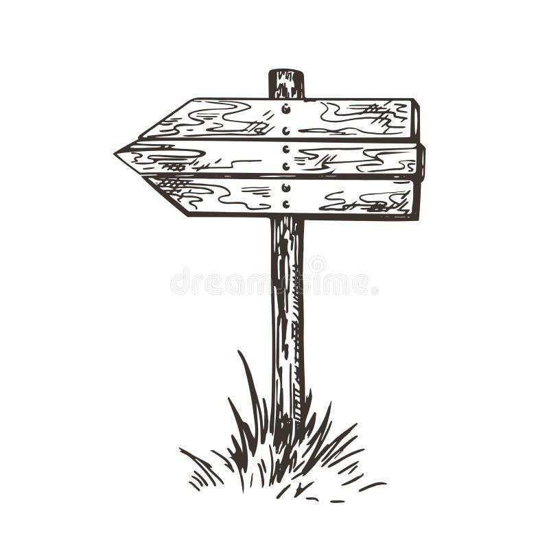 Fl?che indicatrice en bois Image de vecteur dans le style d'un croquis illustration libre de droits