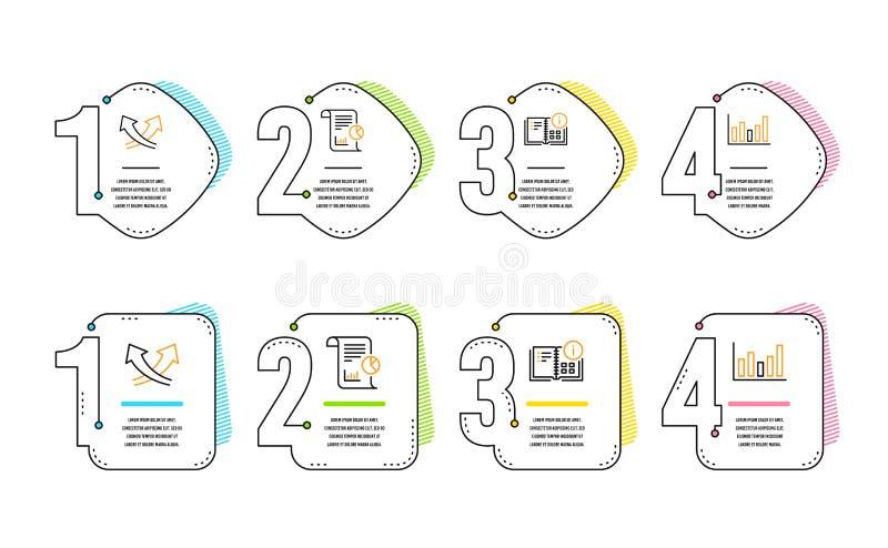 Fl?ches d'intersection, information d'instruction et ensemble d'ic?nes de rapport Signe de diagramme de colonne Vecteur illustration libre de droits