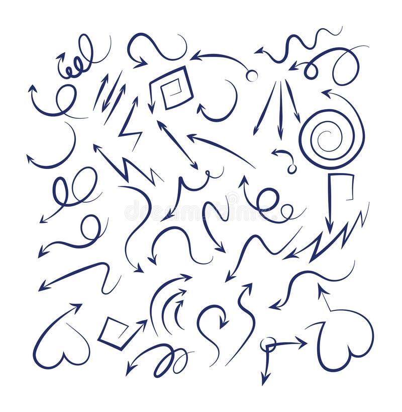 Fl?ches de griffonnage r?gl?es De croquis icônes incurvées tirées par la main noires d'indicateur de flèches swirly d'isolement s illustration stock