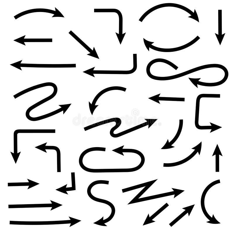 Fl?ches tir?es par la main noires Ensemble de griffonnages Illustration de vecteur d'isolement illustration libre de droits