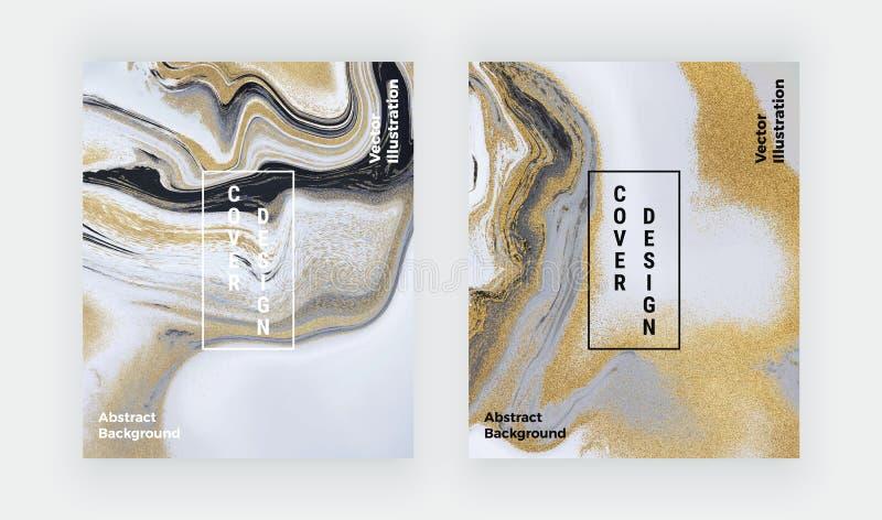 Fl?ssige Marmorbeschaffenheit des schwarzen, wei?en und goldenen Funkelns Gesetztes Tintenmalerei-Zusammenfassungsmuster Modische lizenzfreie abbildung