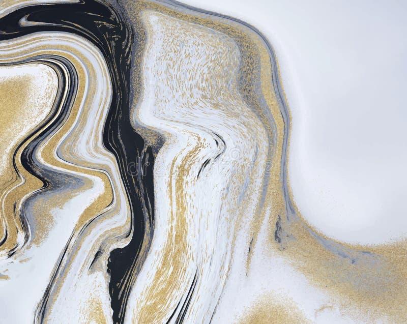 Fl?ssige Marmorbeschaffenheit des schwarzen, wei?en und goldenen Funkelns Tintenmalerei-Zusammenfassungsmuster Modischer Hintergr lizenzfreie abbildung