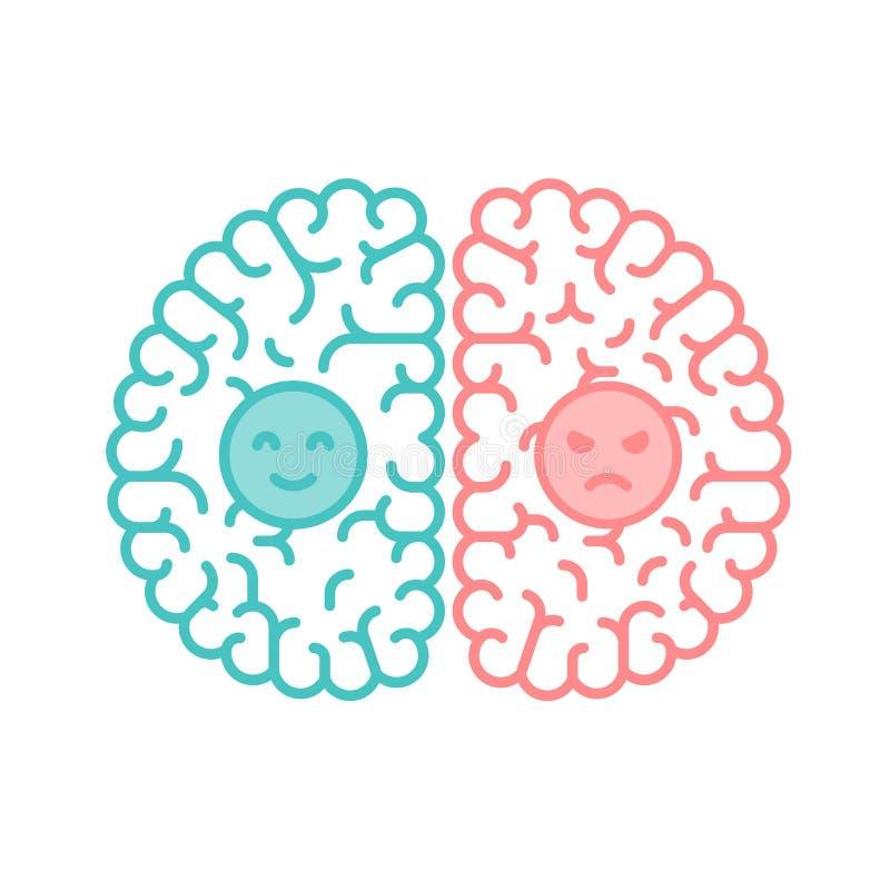Fla izquierdo y derecho del cerebro, feliz y cambiante del concepto del esquema del movimiento stock de ilustración
