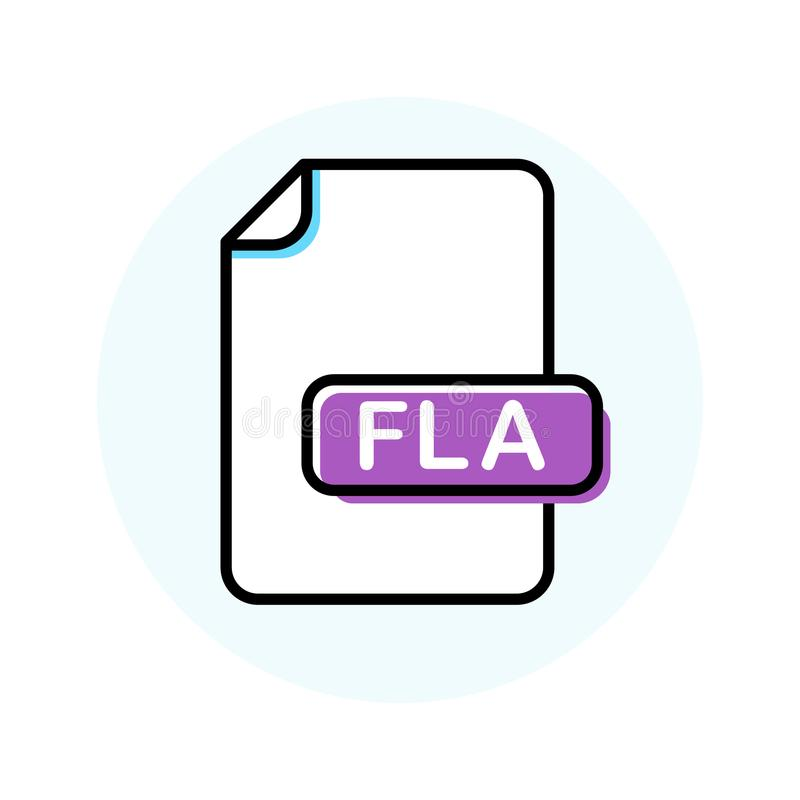 FLA kartoteki format, rozszerzenie koloru linii ikona ilustracja wektor
