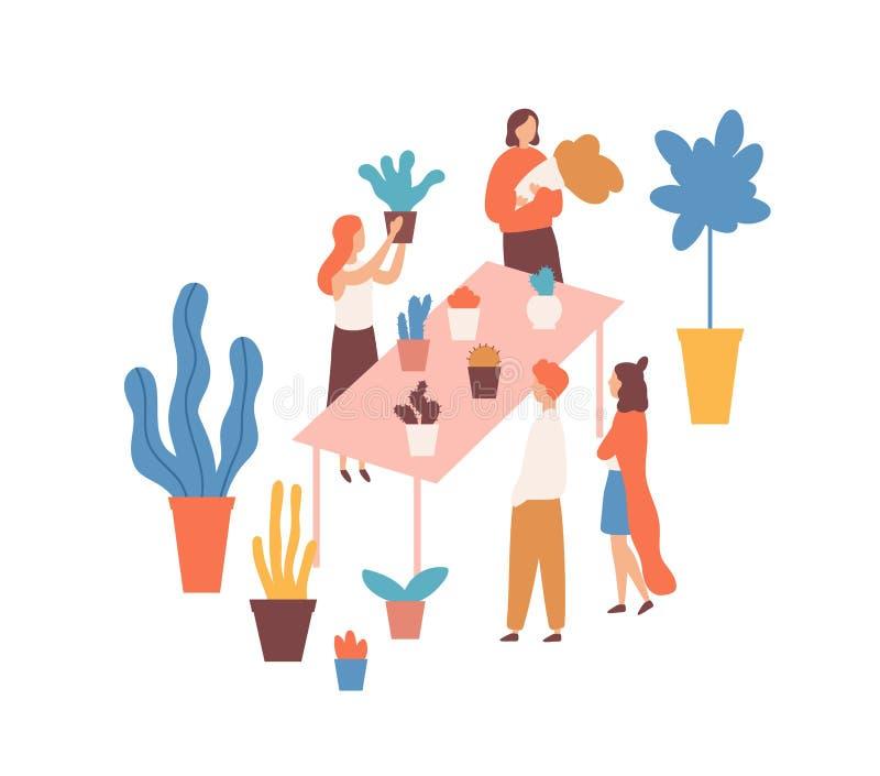 Fla market, flower fair wector ilustracja Postacie z kreskówek dla kobiet-sprzedających i kupujących Rynek gospodarstw domowych ilustracja wektor