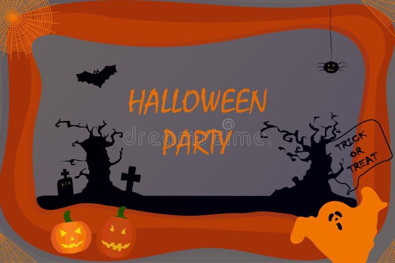 flach Anschlagtafel für Halloween Kürbise, Geist, Bäume, Kreuze, Spinne, Schläger, Spinnennetze auf einem farbigen Hintergrund lizenzfreie abbildung
