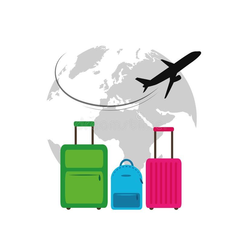 Flach fliegend rund um den Globus reisen bunte Kästen Illustration lizenzfreie abbildung