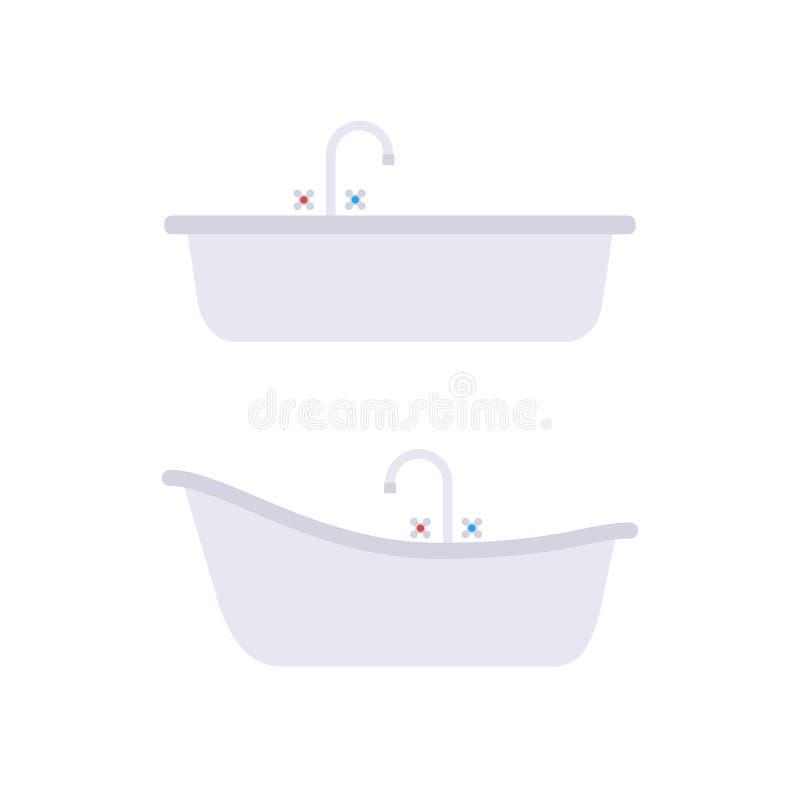 Flach grauer Satz des klassischen und modernen Bades vektor abbildung