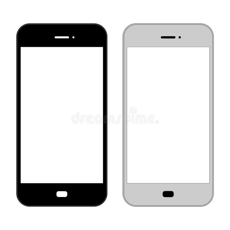 Flach, Smartphoneillustration Schwarze und graue Version Lokalisiert auf Weiß stock abbildung