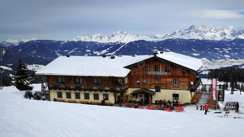 Flachau Ski Resort, Radstadter Tauern, Ski Amade, Austria. View on Gasthof Jandlalm and Dachstein mountains from Flachau ski resort - Austria stock photography